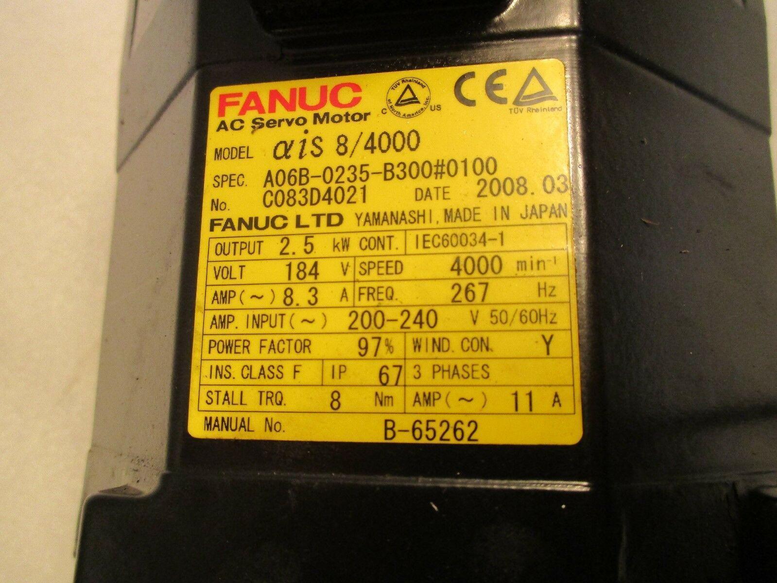 Fanuc Servo Motor Alpha iFS 8/4000 A06B-0235-B300