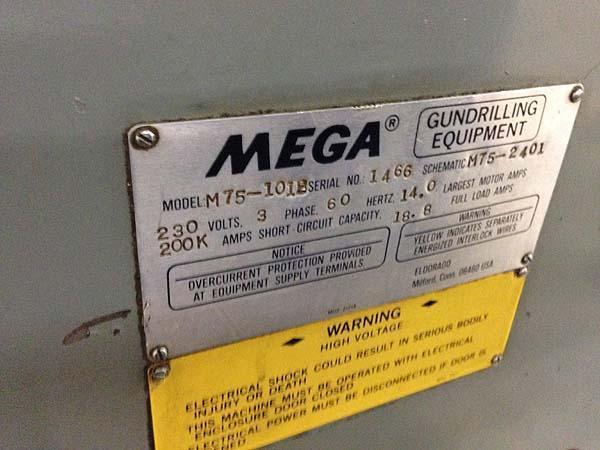 "3/4"" x 48"" ELDORADO 3-Axis Knee Type Gundrilling System, Model M75-1018, Sony Digital Read Outs, Servo Infeed, .05-3/4"" Drilling Diameter, 48"" Drill Stroke, New 1990."