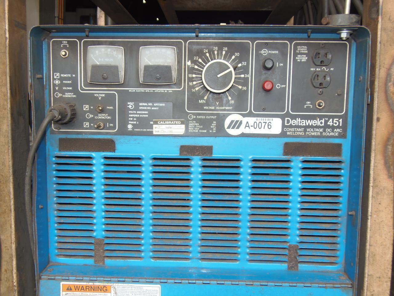 Miller 450 Amp Wire Feed Welder, Model Deltaweld 451 with D54D Wire feeder