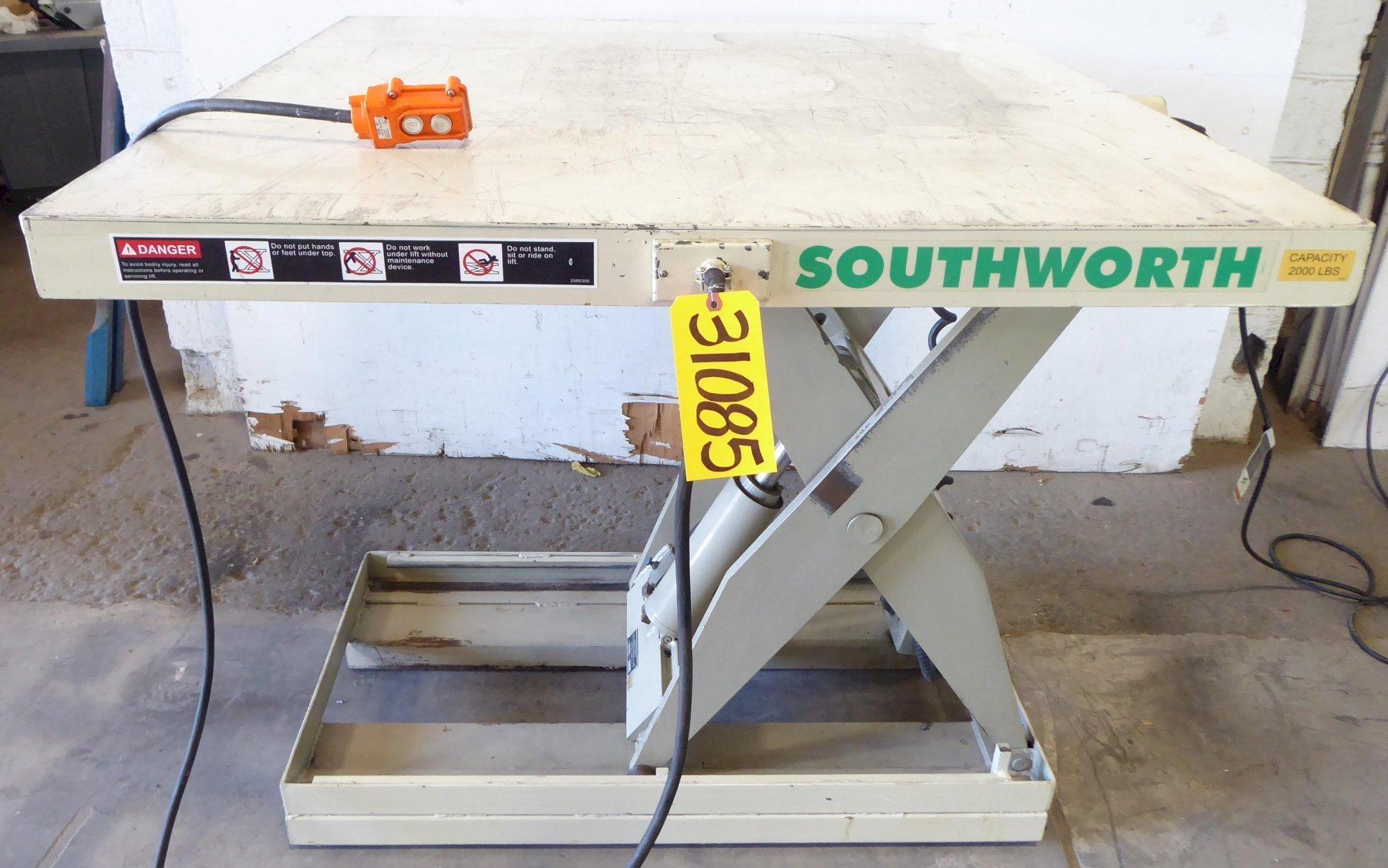 2000 Lb. SOUTHWORTH Lift Table, 48″ x 48″ Platform, 10″ Lowered, 46″ Raised, 1 Phase
