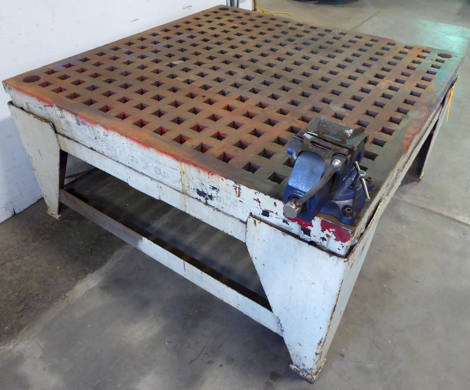 """5' x 5' WELDSALE Acorn Welding Table, 1-3/4"""" Square Holes, Stand"""