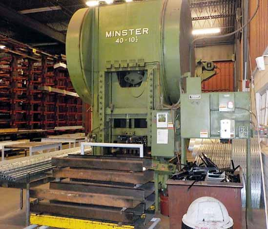 300-Ton Minster Model 40-10� Straight Side Double Crank Press, 10.5 stroke, 61 x 42 bed, 13 SPM.