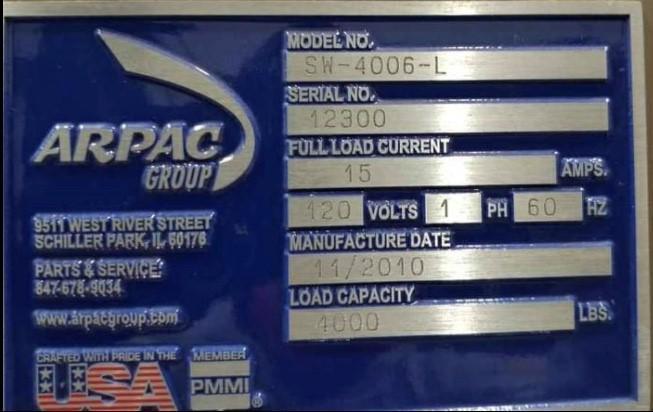 ARPAC SEMI AUTO STRETCH WRAPPING MACHINE # 2371
