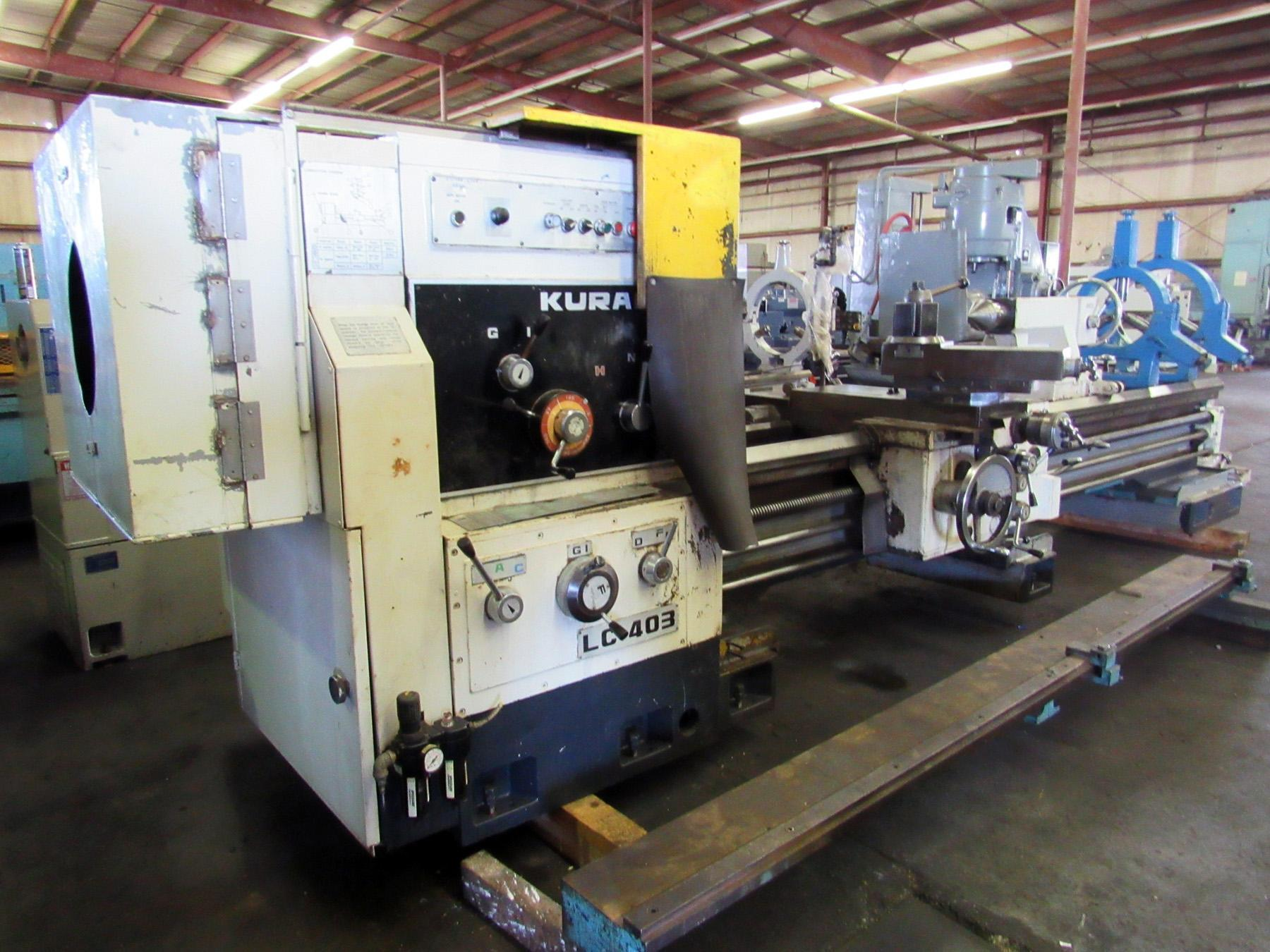 "USED, 32"" X 118"" KURAKI MODEL LC-403 30 HOLLOW SPINDLE LATHE WITH 12.5"" SPINDLE BORE"