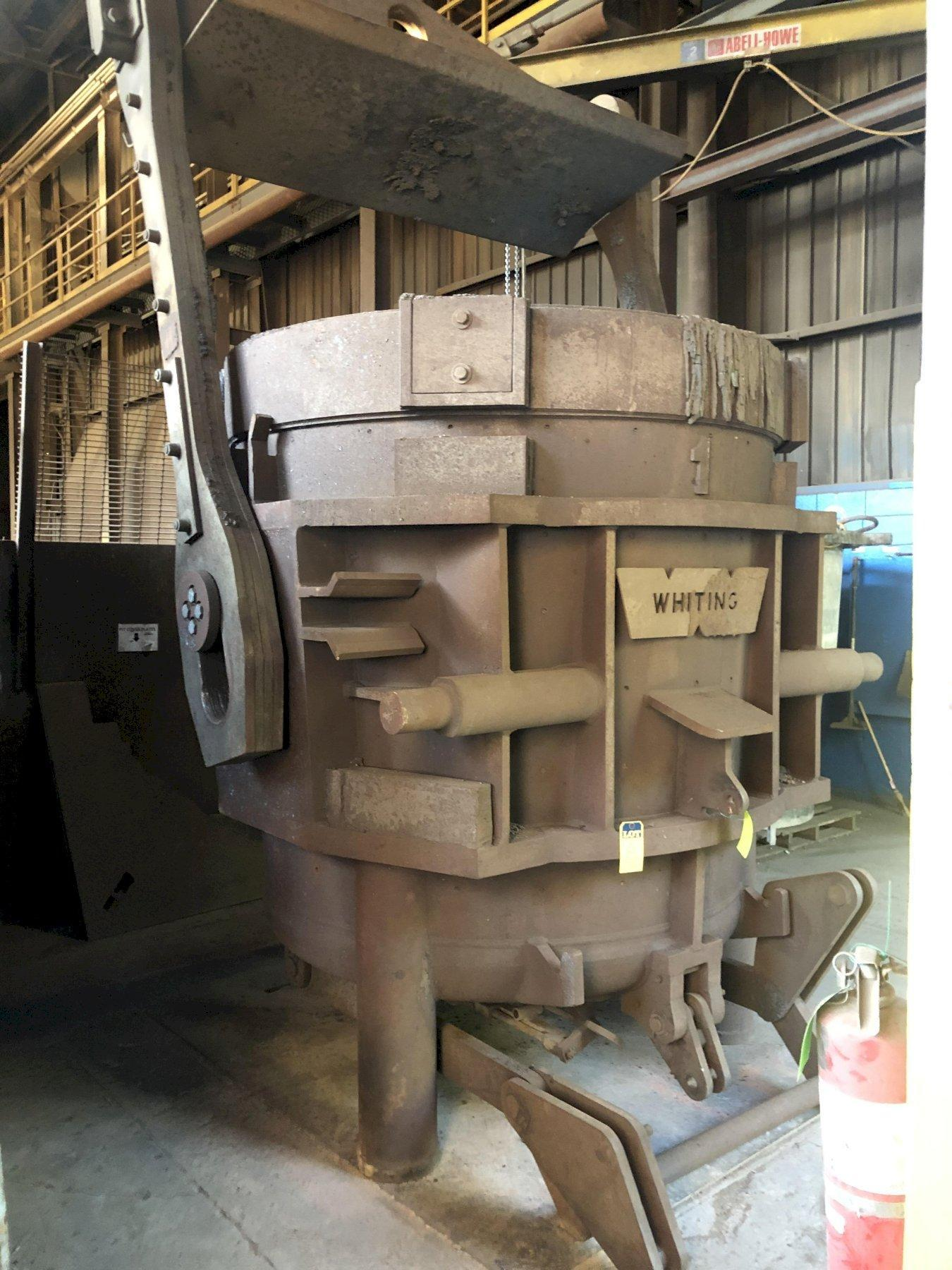 """2- available Whiting non geared 34 ton bottom pour ladle with bail and pouring mechanism, 65"""" diameter x 69"""" tall, priced each"""