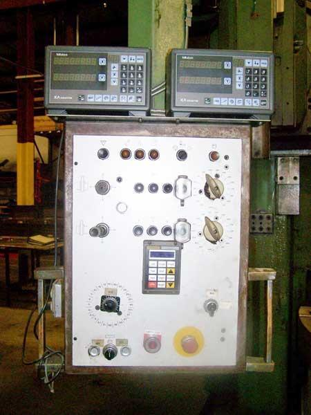 "98"" DORRIES VERTICAL BORING MILL, Model SD-250, 98"" 4-Jaw Chuck, 3-Axis DRO, 112 RPM, 85"" Under Rail, New 1978."