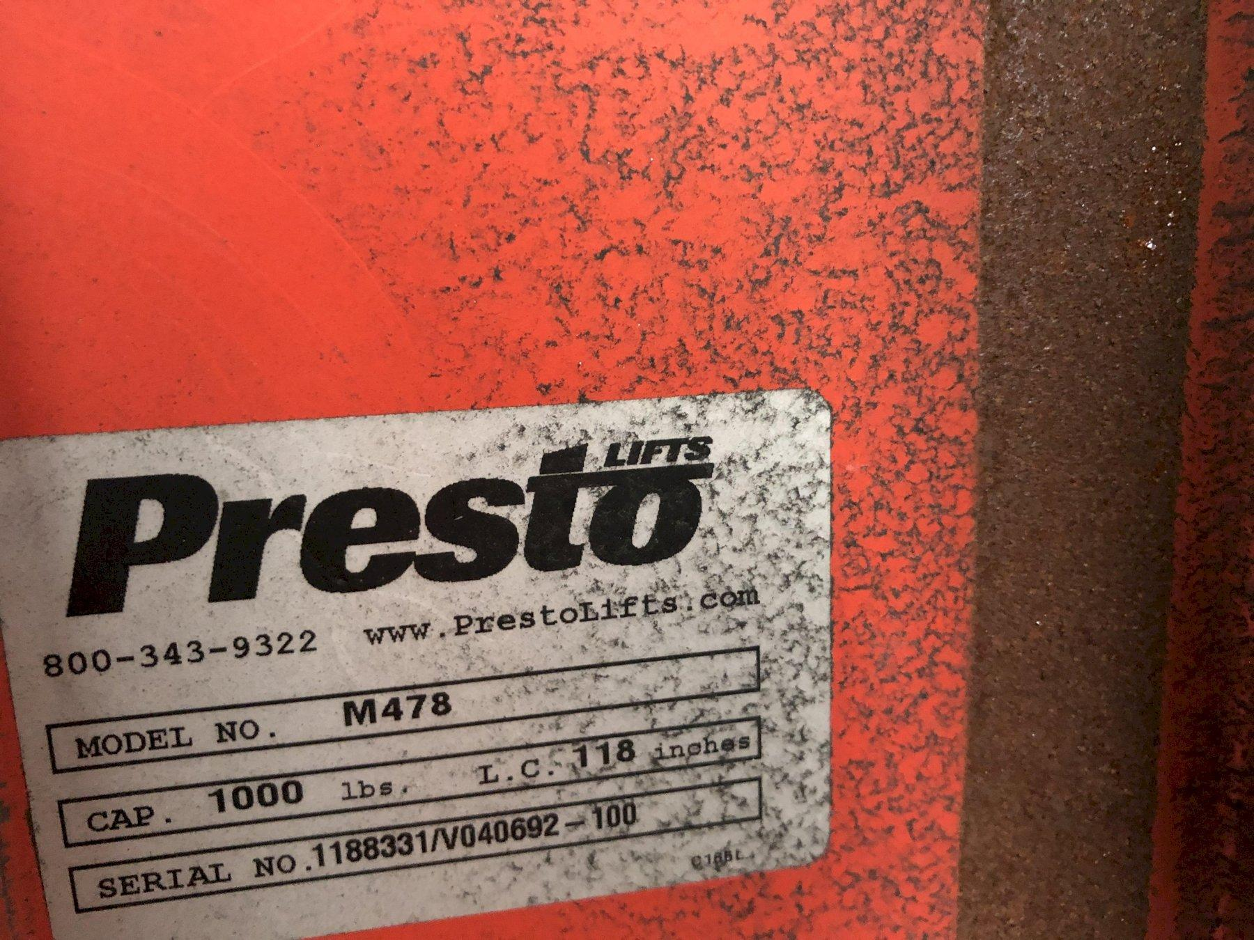 PRESTO HAND LIFT CART MODEL M478 S/N 1188331/V040692-100, 1000# CAPACITY