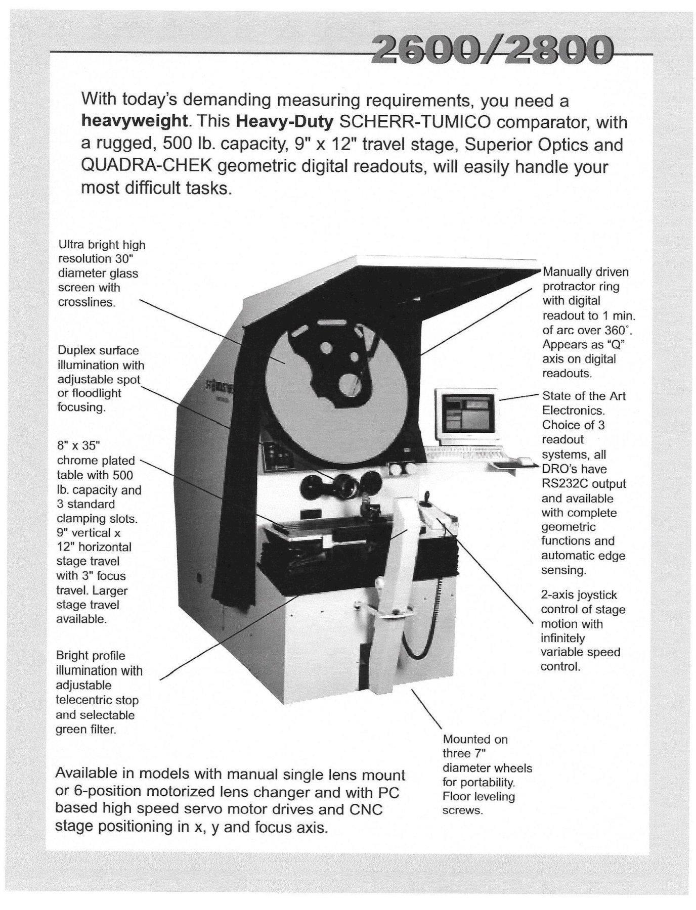 "30"" ST INDUSTRIES Optical Comparator, New 2004."