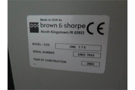 BROWN & SHARPEBrown & Sharpe One 775 Coordinate Measuring Machine (CMM)