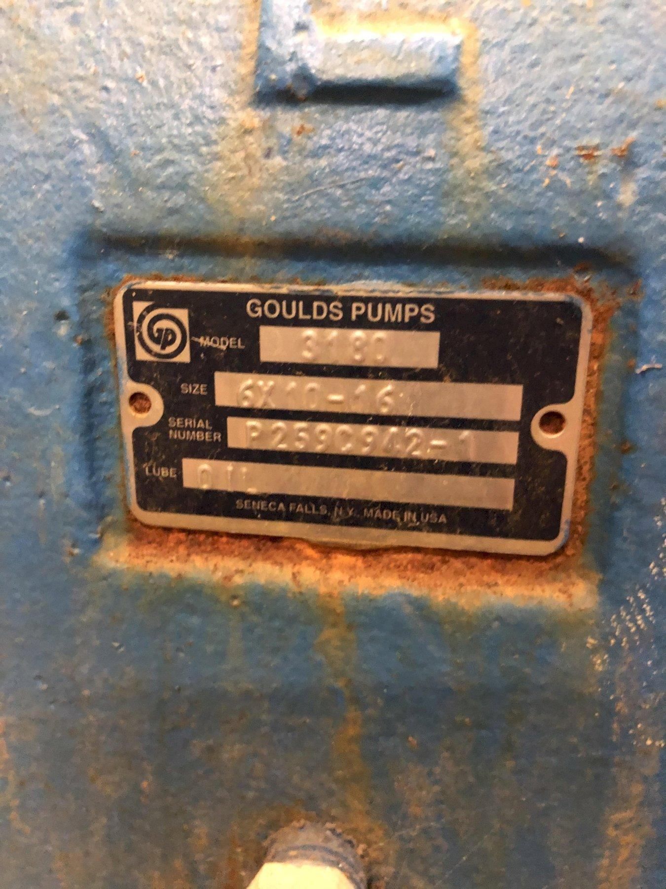 a makeup pump and 200hp motor with Goulds model 3180 pump size 6x10-16 s/n p259c942-1