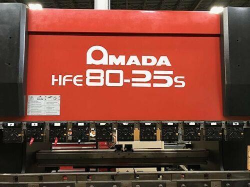 "88 TON x 8' AMADA PRESS BRAKE, Model HFE-80-25s, Amada Operateur 8-Axis CNC Control, 88 Tons, 102"" Bed Length, 83.6 BH, New 2002."