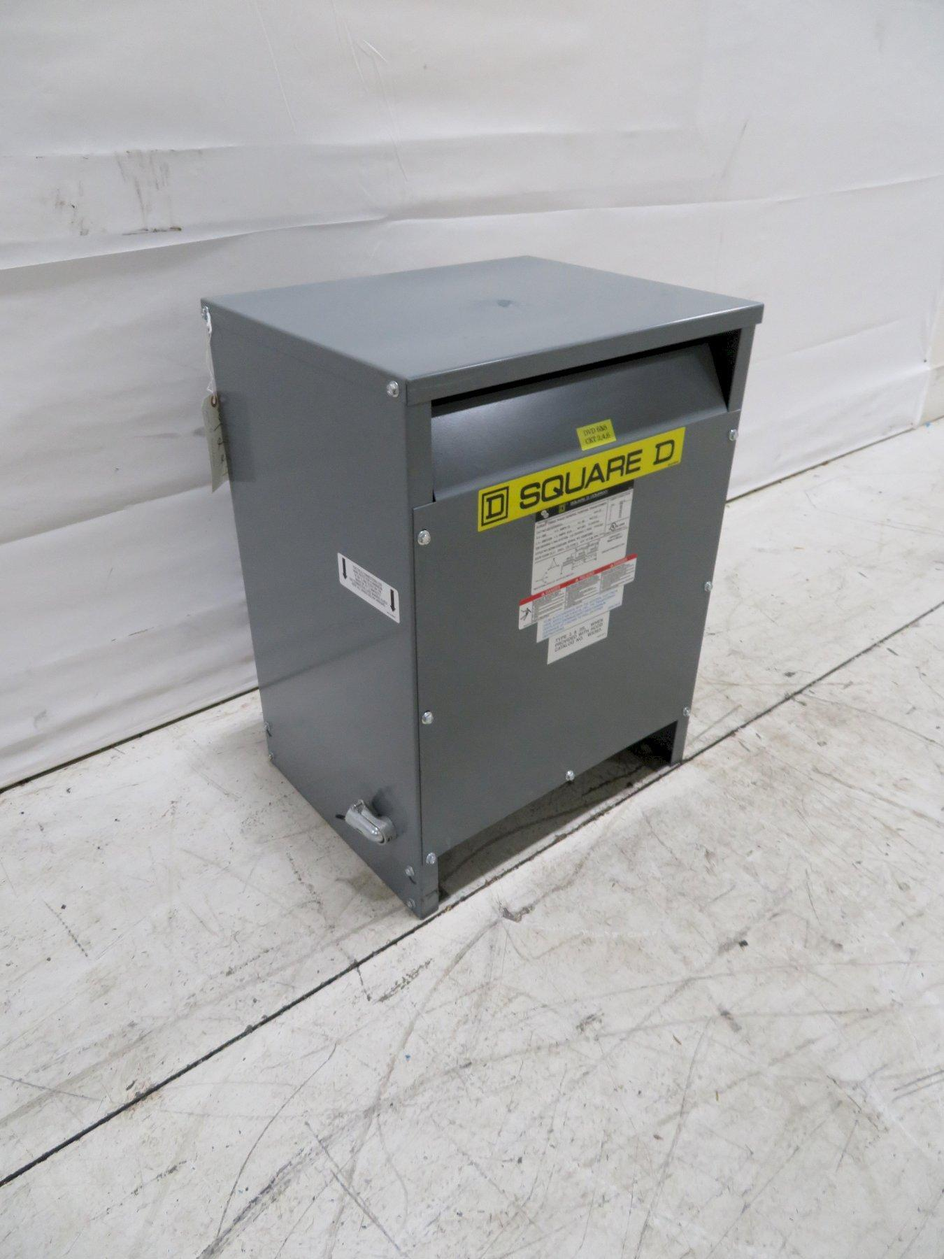 Square D Used EE15T3JFCU 3-Phase Transformer, 15KVA, 480V, 208V, 120V