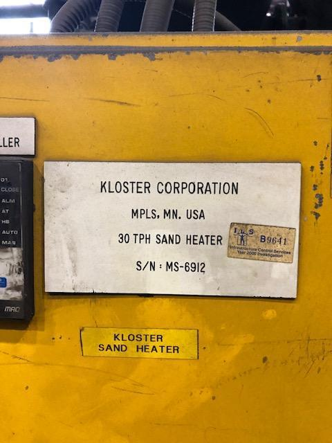 KLOSTER 30 TPH SAND HEATER S/N MS-6912 WITH CONTROLS