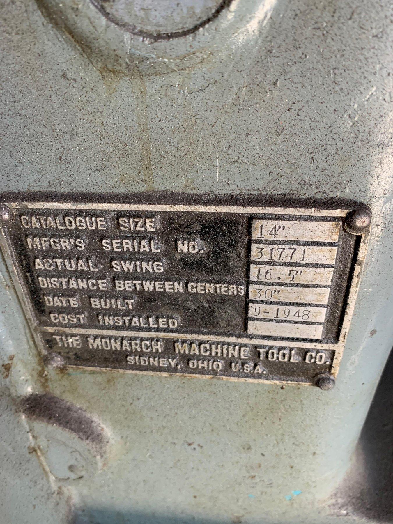"Monarch 16.5"" x 30"" Engine Lathe"