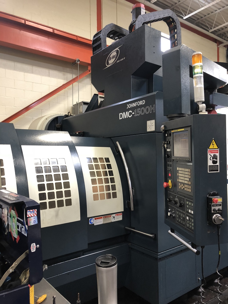 "JOHNFORD DMC-1500H BRIDGE STYLE CNC VERTICAL MACHINING CENTER WITH COOLANT THRU SPINDLE, Fanuc 18iMB, 60""/36""/30"" Travels, 30 HP, 15K Spindle, HSK100A (50 Taper),  10,120 Lb Capacity, Data Server, Heidenhein Scales, 2011"