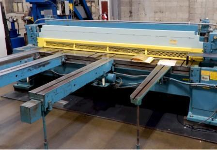 """¼""""x10"""" WYSONG MECHANICAL SHEAR, Model 1025, PC 100 Control, Programmable Backgauge, Squaring Arm, Rear Parts Conveyor, New 1981."""