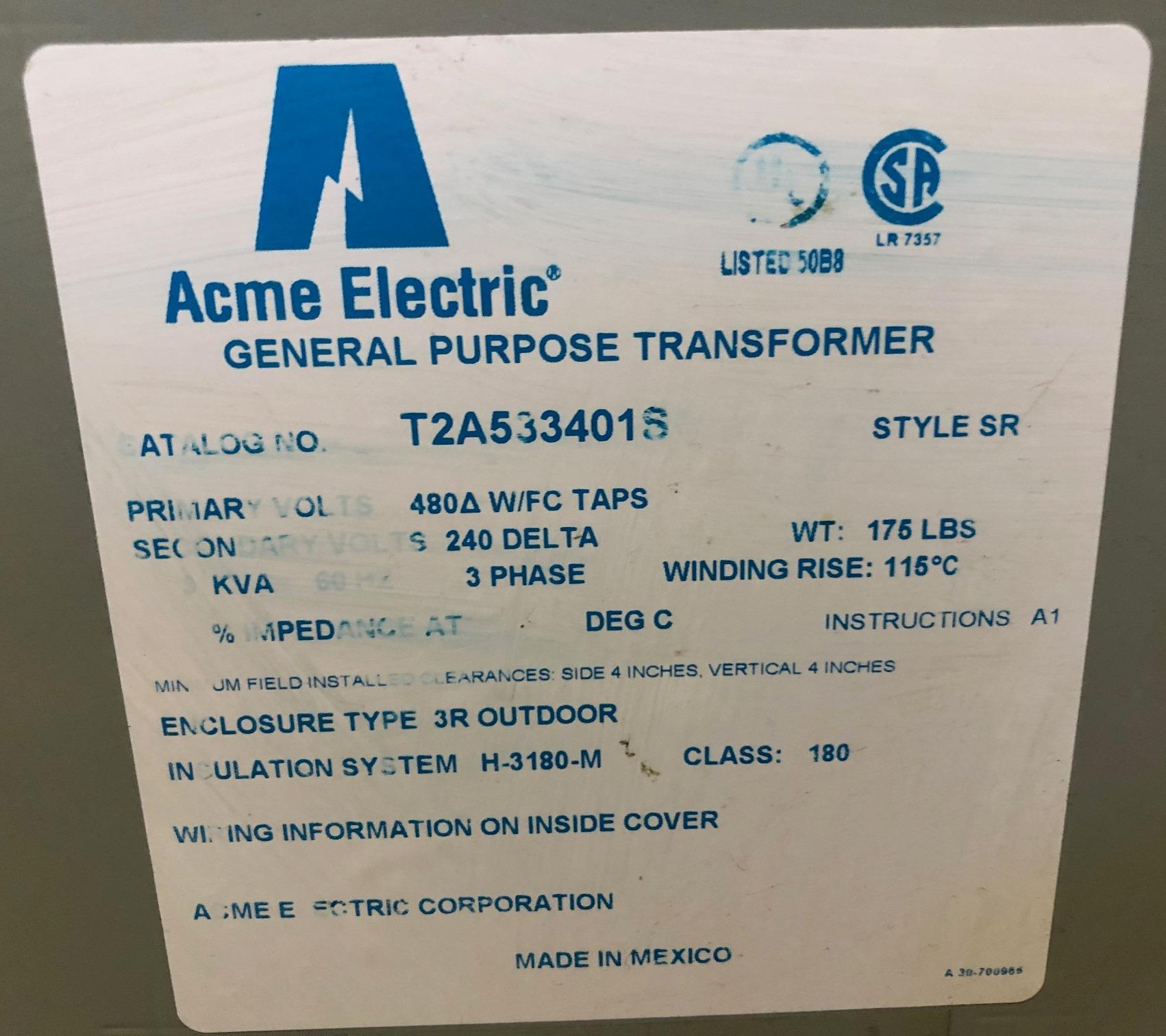 9 KVA Acme Transformer T2A533401S, 480/240, 3 Phase