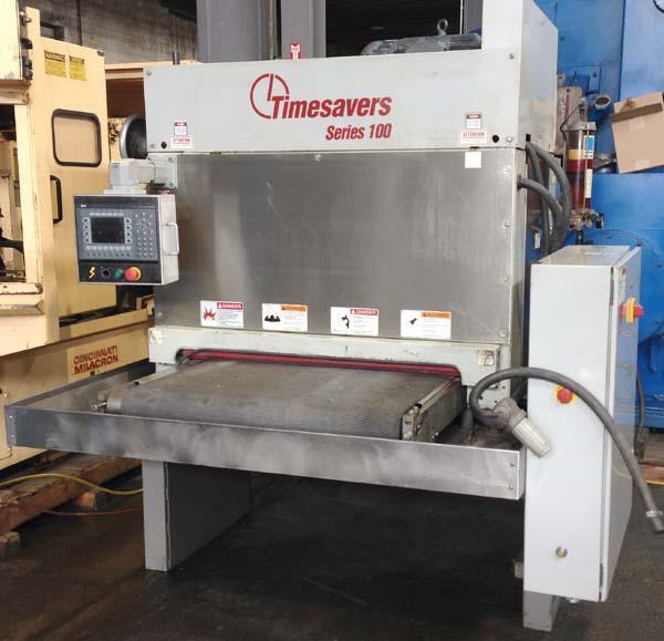 """37"""" Timesavers, Model 137-1HDMW, 37"""" Wide Belt, Auto Cycle Controller, 20HP, Wet, Stainless Construction, New 2001."""
