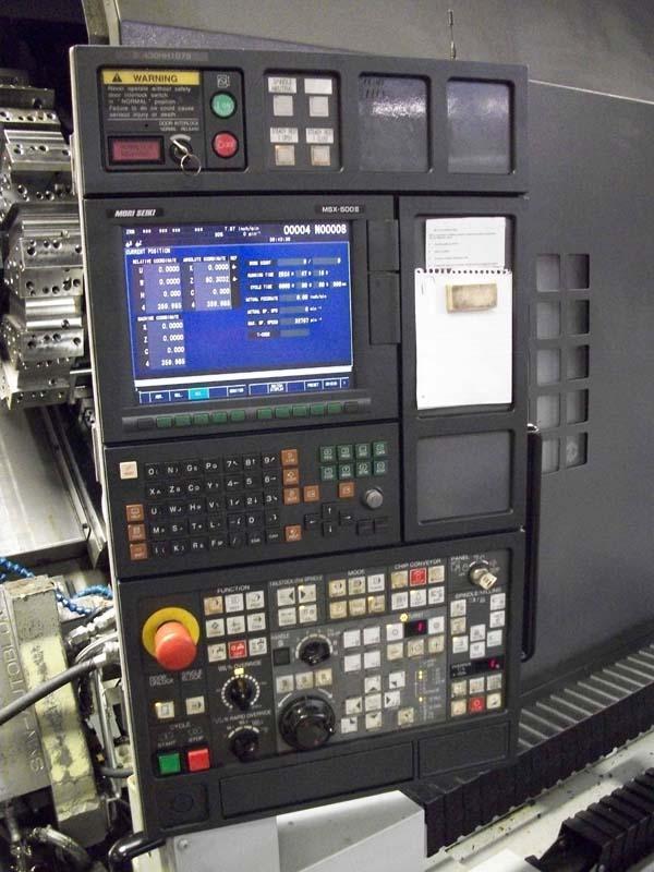 "Mori Seiki SL-403/BMC/2000, Mori MSX-500iii ( Fanuc 21i CNC), 15"" Chuck, 28"" Swing, 80"" Centers, Live Tooling, Turn Thru Rest, New 8/2008."
