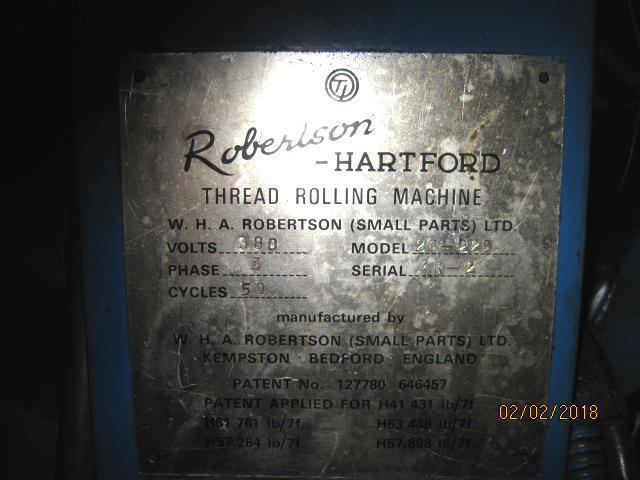 #20 Robertson/Hartford 20-225 Automated Flat Die Thread Roller