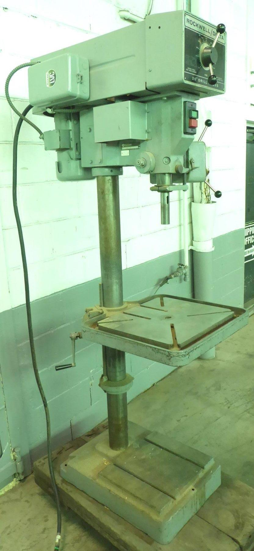 """20"""" Rockwell/Delta Single Spindle Drill, Floor Type, Vari-Speed 375-3750 RPM, 3 M.T., 22"""" x 19"""" Tbl., 1-1/2 HP, Clean"""