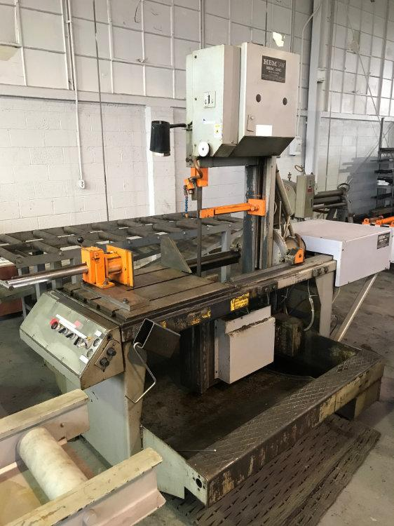 "USED HEM VERTICAL BANDSAW, Model V-100LM-2, 18"" x 20"", Stock No. 10389"