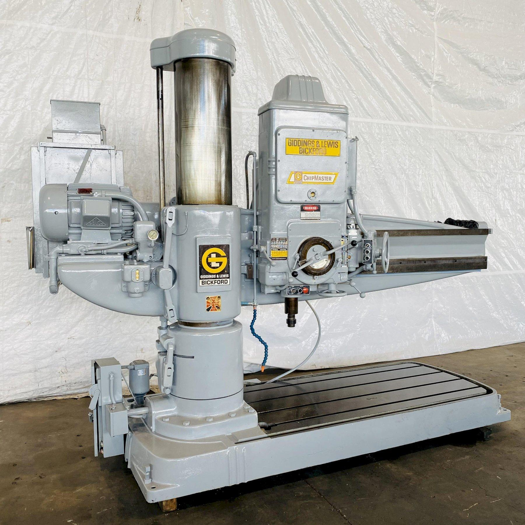 """7' X 15"""" GIDDINGS & LEWIS BICKFORD CHIPMASTER RADIAL ARM DRILL. STOCK # 0521021"""
