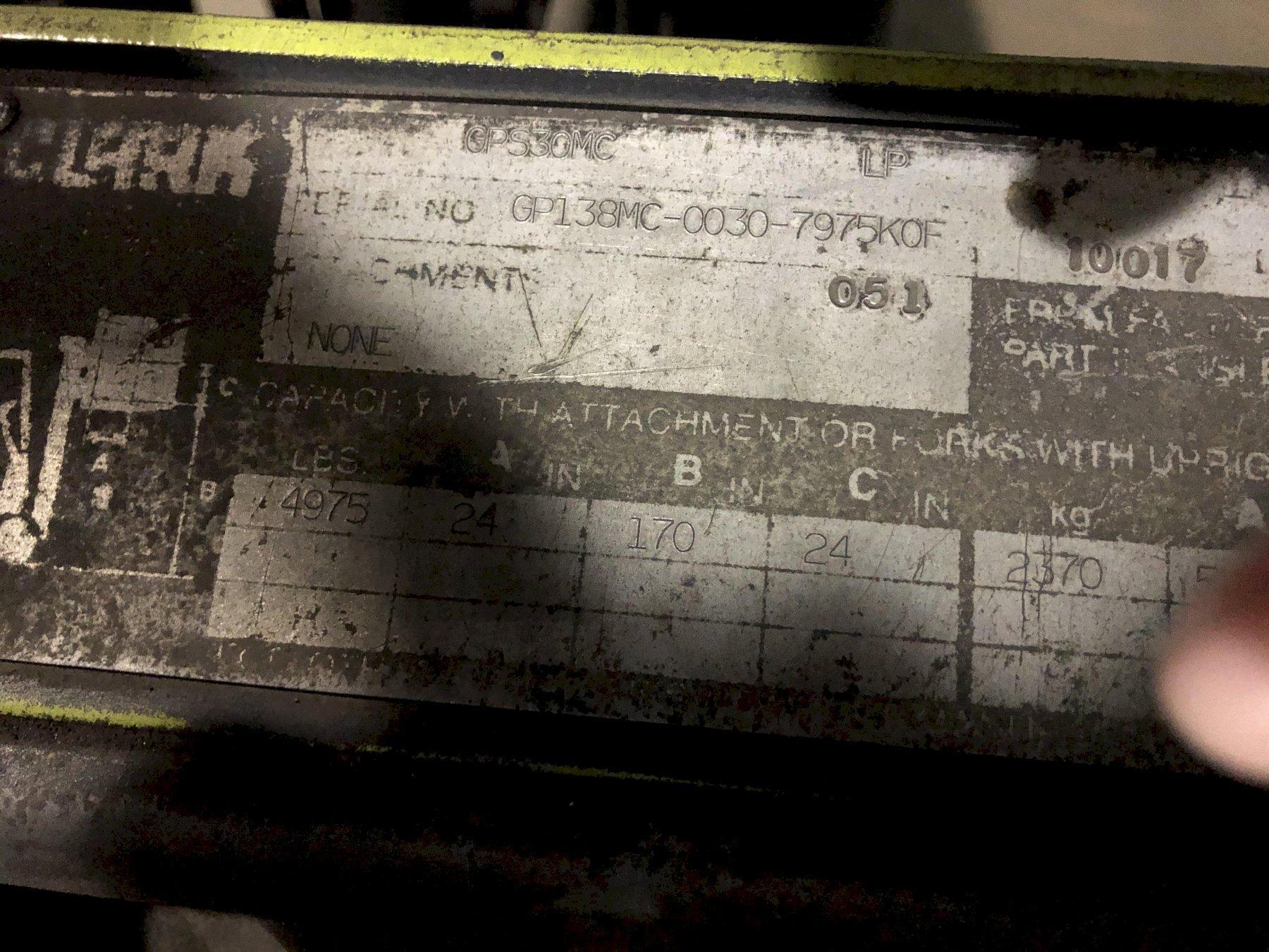 "Clark model gps 30mc 4975# l/p powered fork lift truck s/n gp138mc-0030-7975kof, 170"" lift, late delivery"
