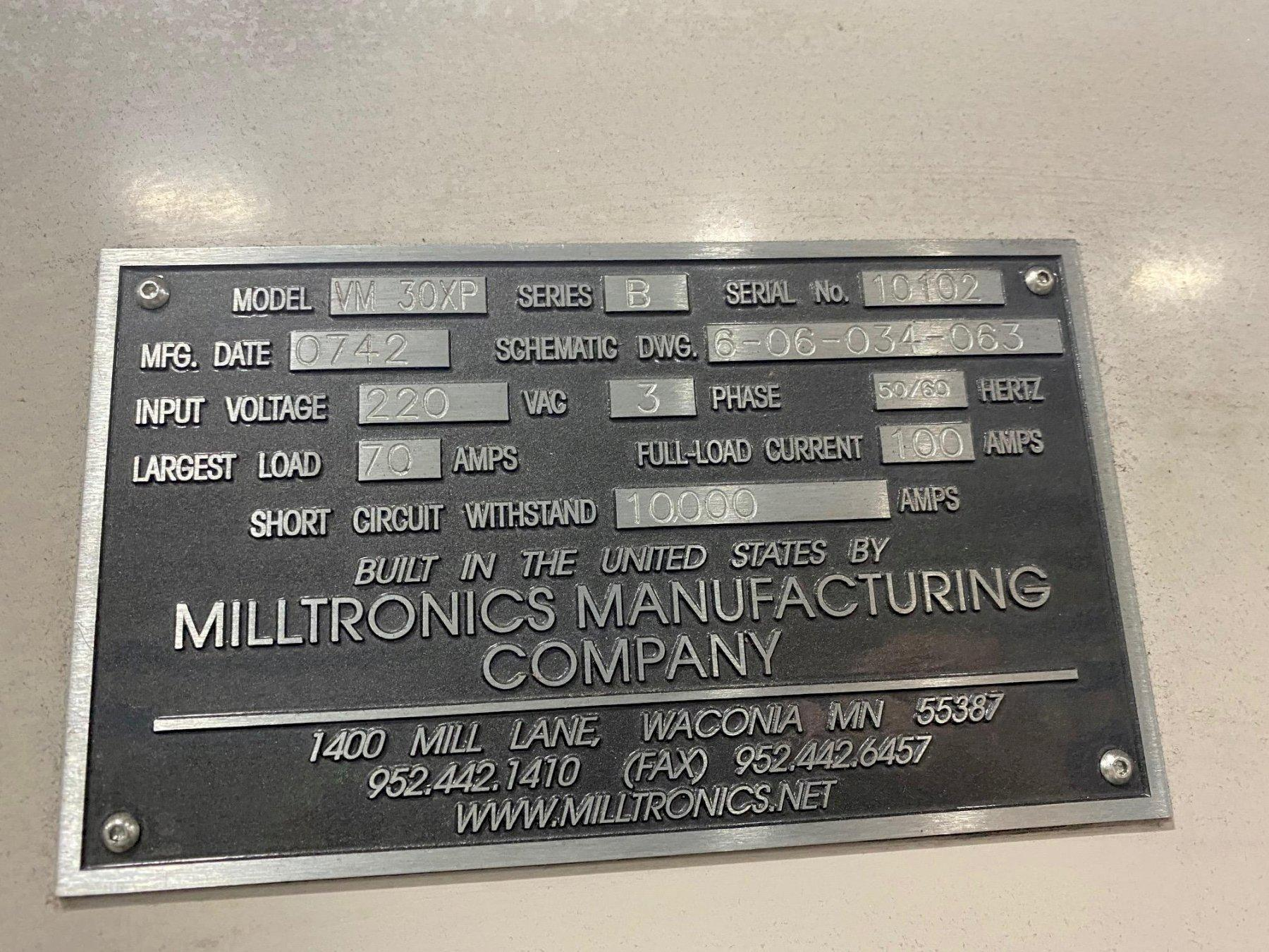 Milltronics Model VM30XP Vertical Machining Cente, S/N 10102 - details pending