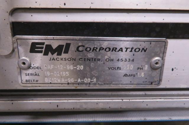 "EMI Used Horizontal Conveyor, Variable Speed, 230V  12"" wide x 96"" long,"