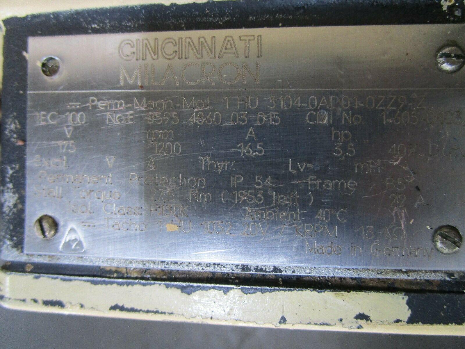 Siemens Servo Motor 1HU3104-0AD01-0ZZ9-Z Cincinnati Milacron Part# 1-605-0403