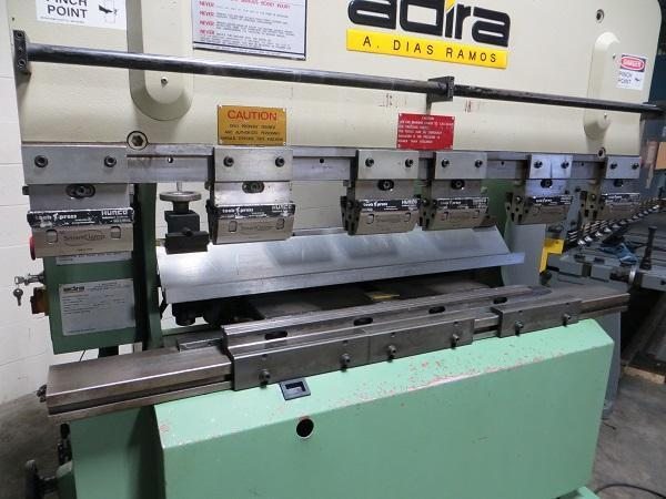 35 Ton x 5 ft Adira Hydraulic Upacting Press Brake Model QHA-3215 w/ 2 Axis Hurco CNC Back Gauge