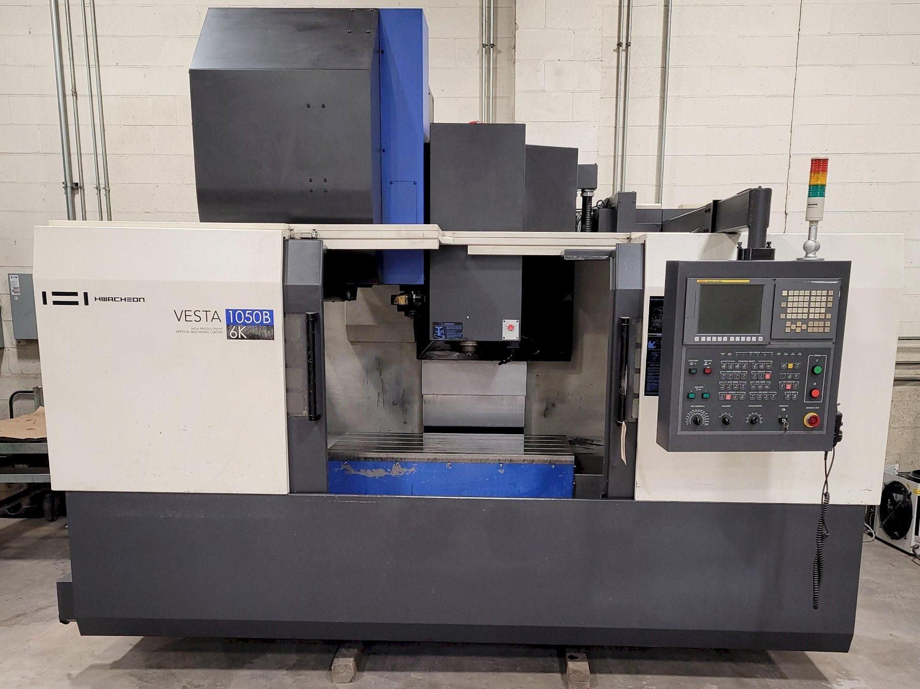 "Hwacheon Model Vesta 1050B Vertical Machining Center 25.5"" x 45"" Table. FANUC OiMD CNC 50 Taper. 24ATC. TSC. Well Equipped 2011"