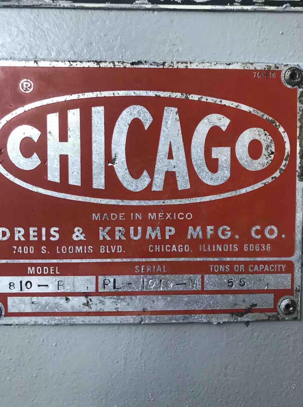55 TON X 10' CHICAGO DRIES & KRUMP 810 B MECHANICAL PRESS BRAKE . STOCK # 0307621