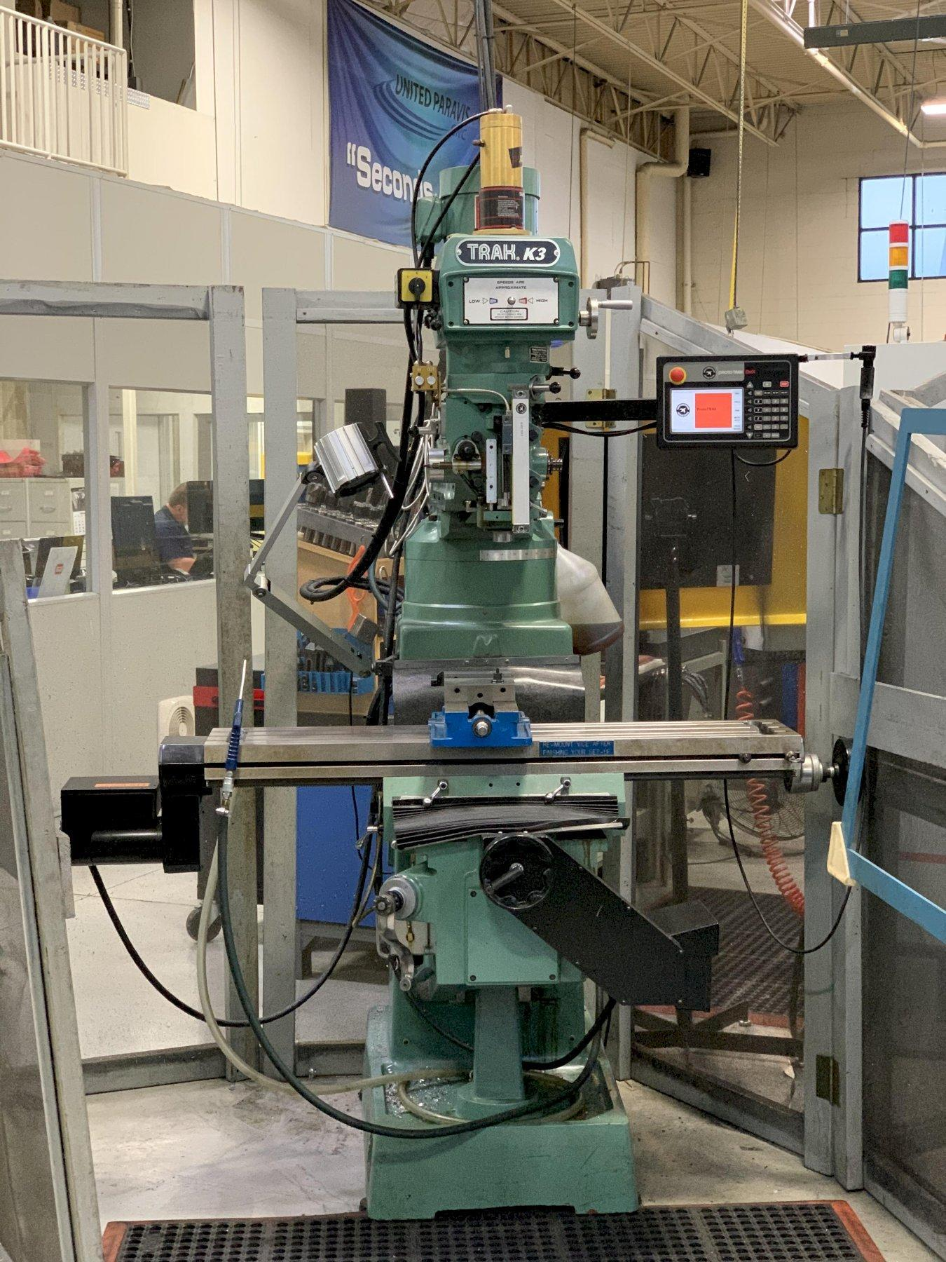 "Southwestern Industries Trak K3 CNC Mill, Prototrak EMX, 32""/16""/16""/15"" Travels, 4200 RPM, R8, Power Draw Bar, (2) Axis CNC/(3) Axis DRO, Scale on Quill, 2012 (2 Avail)