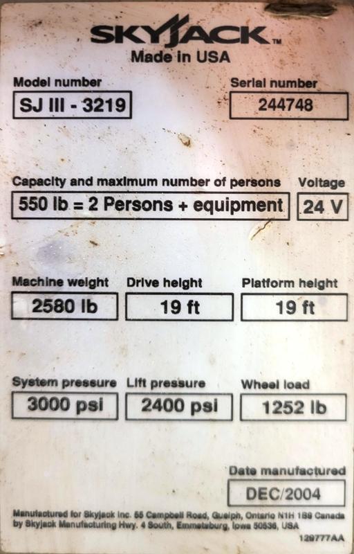 SKYJACK SJIII  3219 ELECTRIC SCISSOR LIFT
