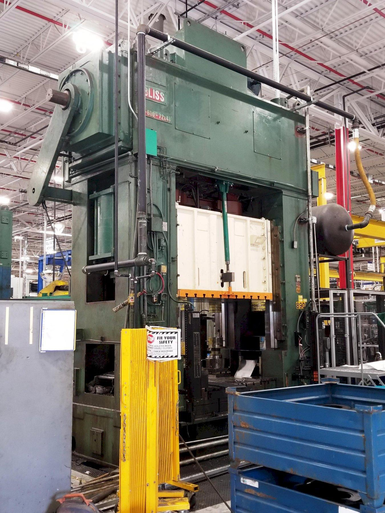 600 TON BLISS SE2-600-72-48 STRAIGHT SIDE PRESS. STOCK # 1057720