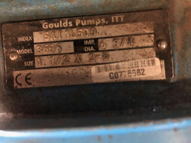 10 HP MOTOR AND GOULDS PUMP MODEL 3656, SIZE 1 1/2 X 2-8