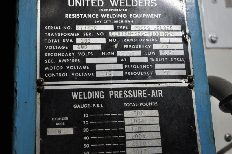 100 KVA UNITED SPOT WELDER