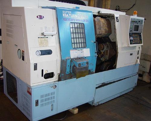 """KIA SKT 21LMS, Mitsubishi CNC Control, Live Tooling, Sub Spindle, ATS Collet Chuck, 2.5"""" Bar Capacity, New 2000."""