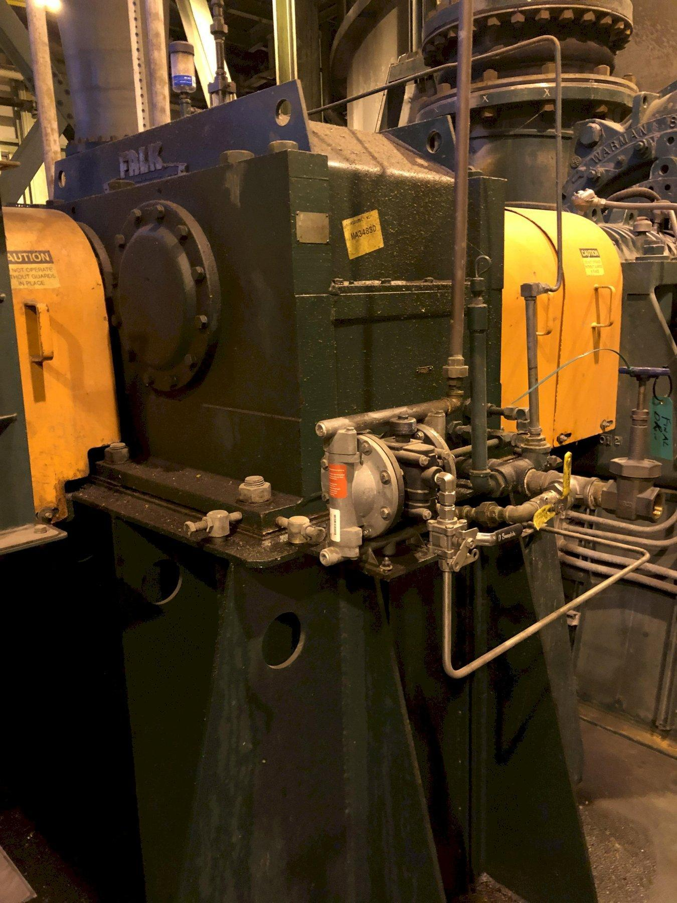 2008 recycle blower system with Siemens 1500 hp motor 6600 volt s/n 079172?020-1, Falk dolrs-gear-ooo2d gearbox, Harman 800gsl blower model 80tycsleaa s/n hds29988m