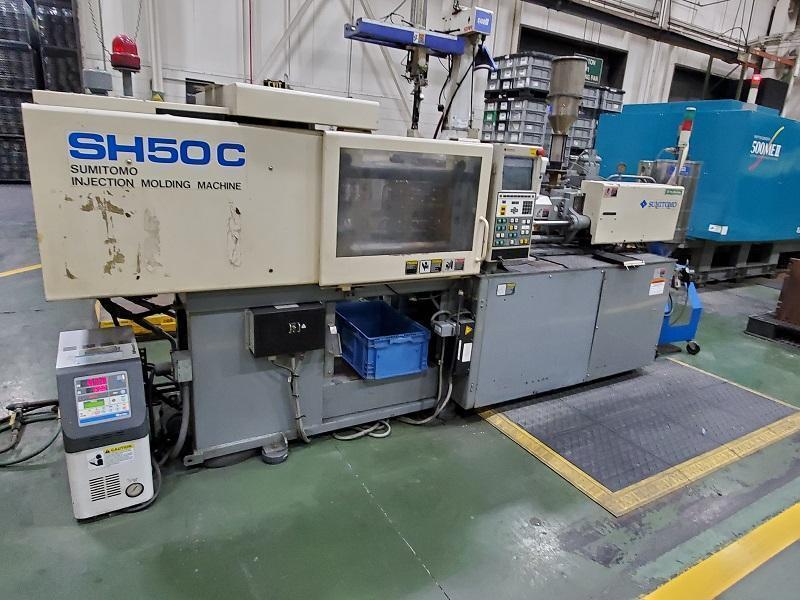 Sumitomo Used SH50C Injection Molding Machine, 55 US ton, Yr. 2001