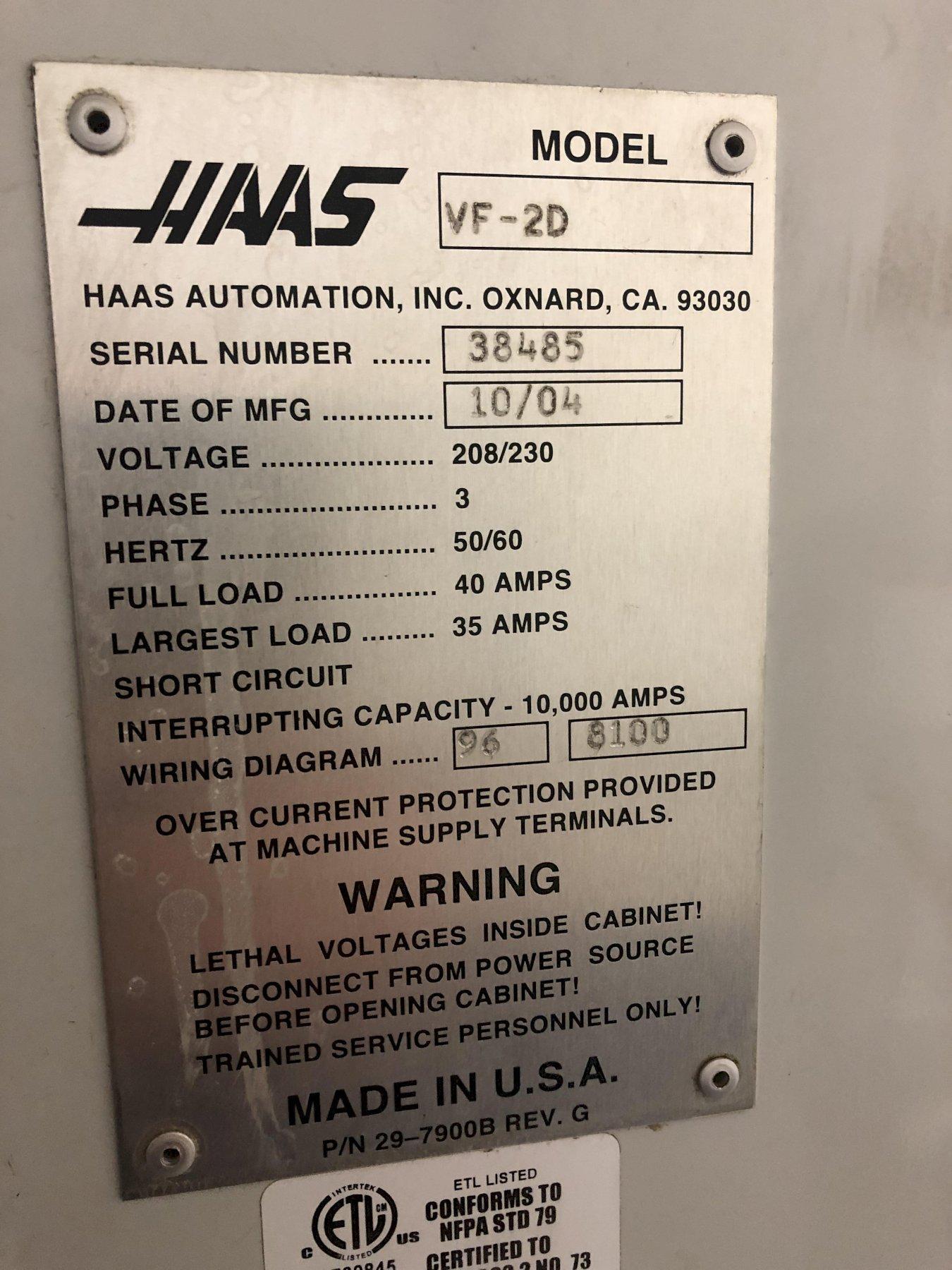 2004 Haas VF-2D - CNC Vertical Machining Center