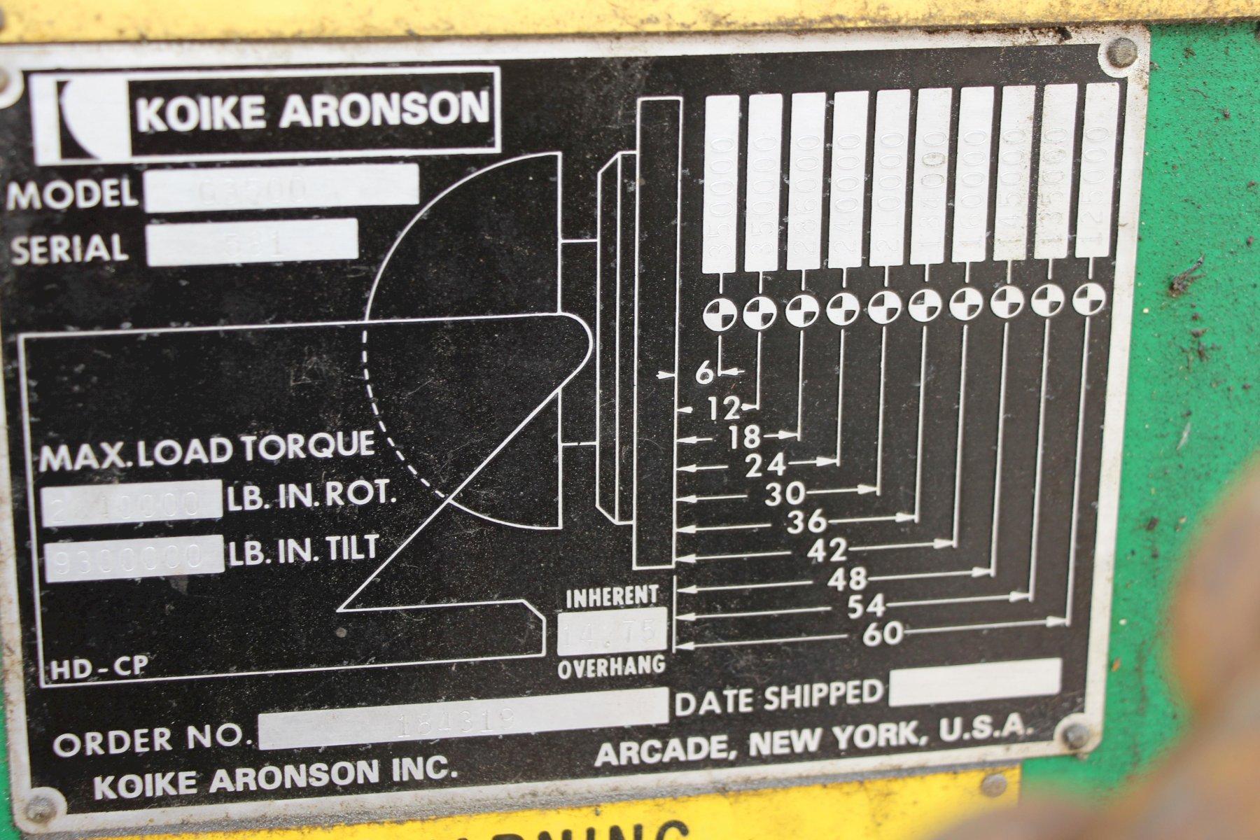 350,000 LBS Aronson Model G3500 Welding Positioner