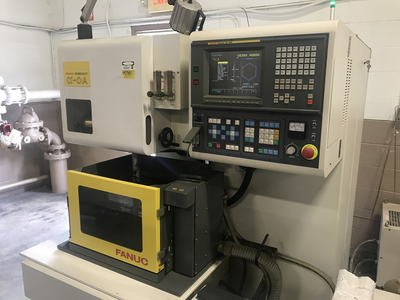 "Fanuc Robocut Alpha 0A, F16WA, 11.8""/7.87""/6"" Travel, 1100 Lb Capacity, Chiller, Transformer, 1994"