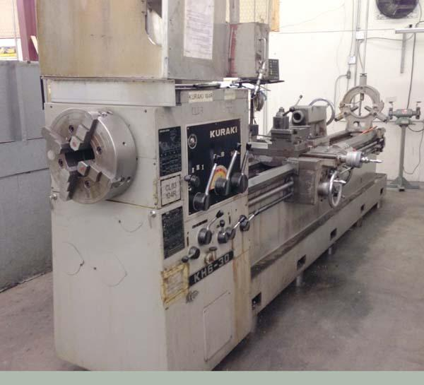 """25"""" x 120"""" KURAKI Oil Country Lathe, Model KH6-30, 25' Swing over Bed, 16"""" Over Cross Slide, 120"""" Centers, 6-3/4"""" Spindle Bore, Front and Rear Chucks, Threading, Taper, New 1981."""