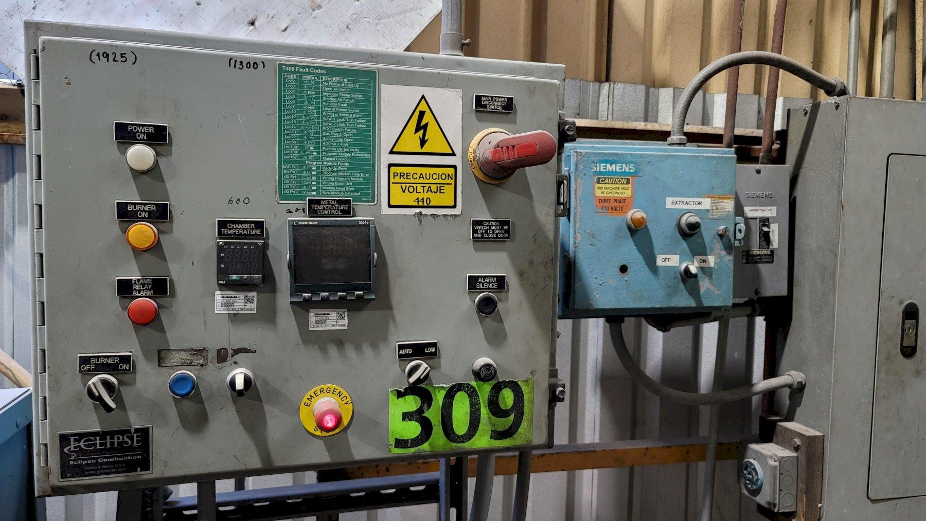 Morgan model bt 1300r 1300# gas fired tilting furnace with gas system and controls