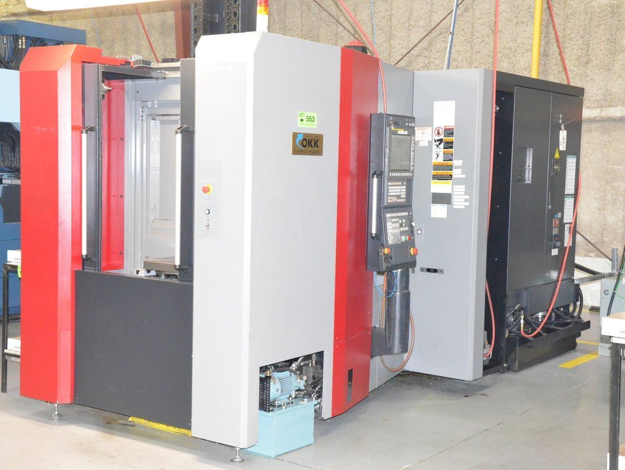 """OKK HMC400 CNC Horizontal Machining Center, Fanuc 31iB, 15.75"""" Pallets, 15K Spindle, 22""""/22""""/22"""" Travels, Big+ 40 Taper, Full 4th Axis, ATLM, Low Hours, 2015 (Installed 2017)"""