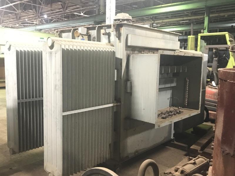1998 ALSTOM 3500 KW FURNACE TRANSFORMER RATED AT 13,800 VOLT PRIMARY WITH 5 HIGH TAPS, 642D & 642 Y(1750 KVA EACH) SECONDARY, 65 DEGREE RISE, 3 PHASE, 60 HZ, S/N PDL-1447