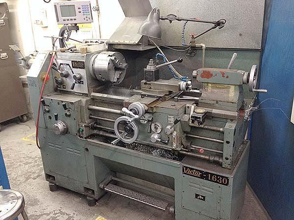 """16"""" x 30"""" VICTOR Engine Lathe, Model 1630, 16' Swing over Bed, 9"""" Over Cross Slide, 30"""" Centers , 2"""" Spindle Bore, DRO, Threading, New 1975."""